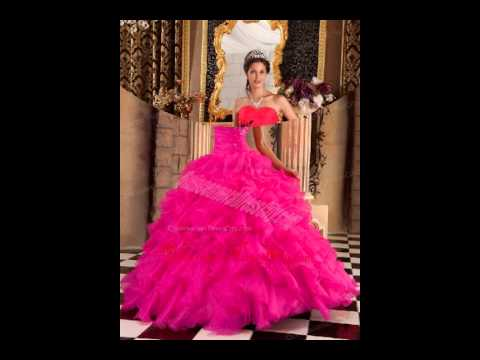 57315f3784 hot pink sweetheart embroidery and beading quinceanera dress - YouTube