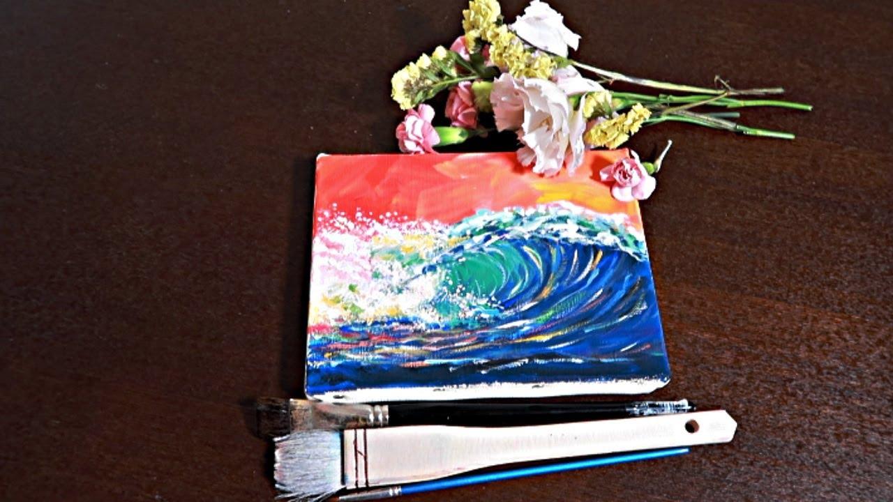 治愈系基础不透明水彩画《浪》| 简单水粉画,很适合当装饰画 | 分享配色方式,有解说 | 公开一张小伙伴临摹 |