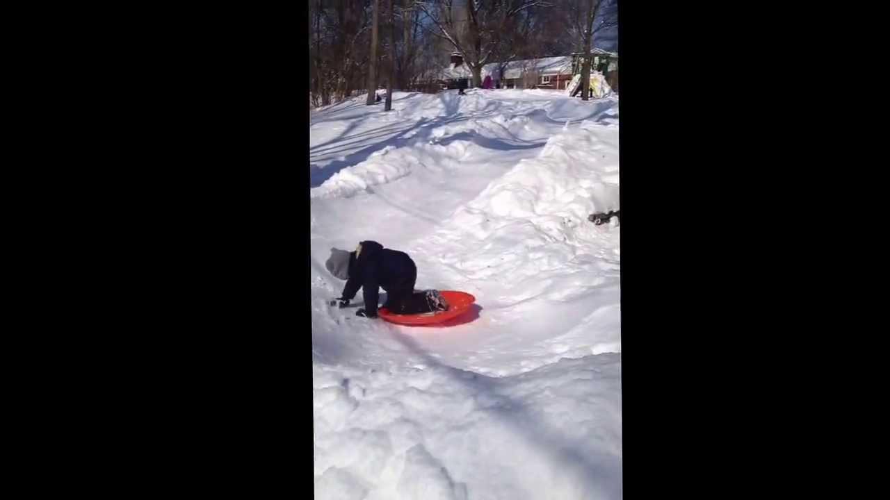 homemade snow luge in mi 2014 backyard 1 dad 1 shovel youtube