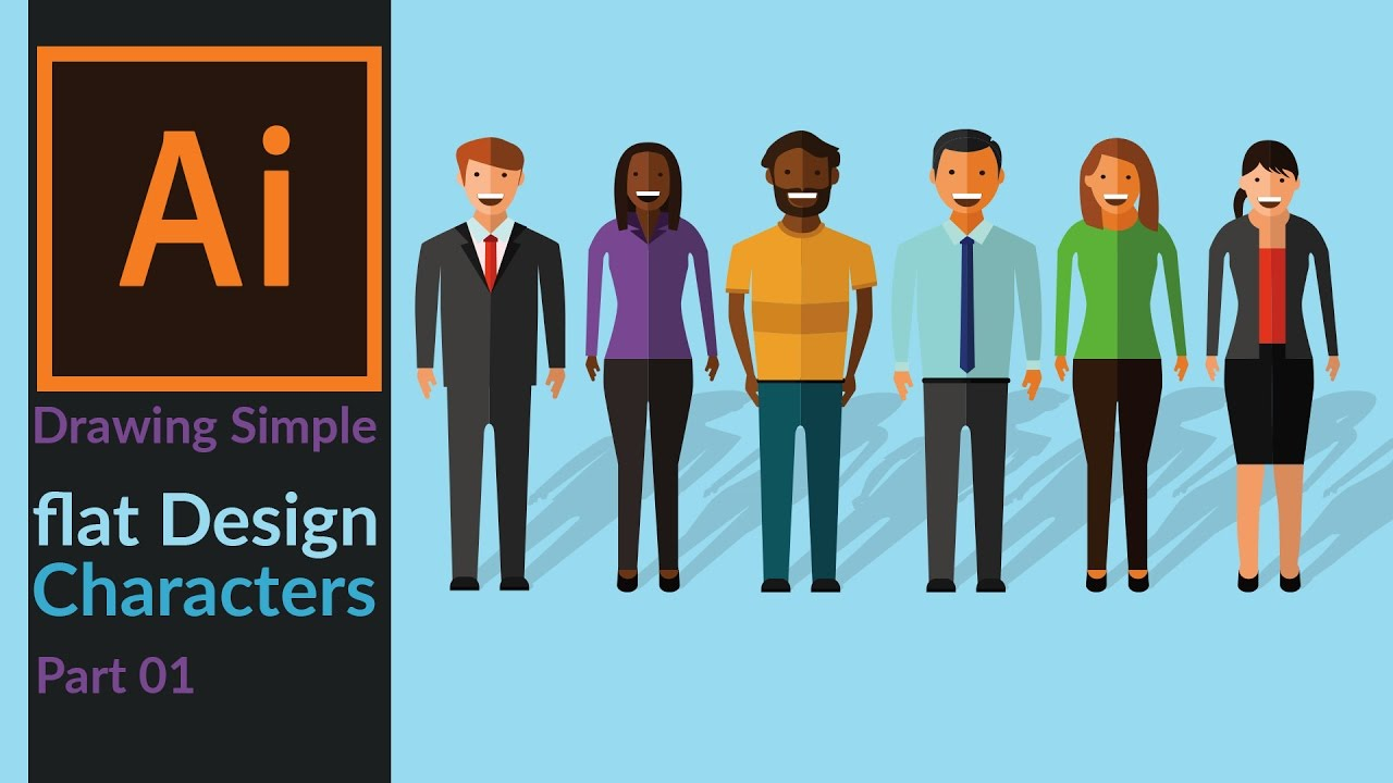 Simple Character Design Illustrator : How to draw simple flat design characters office employees in