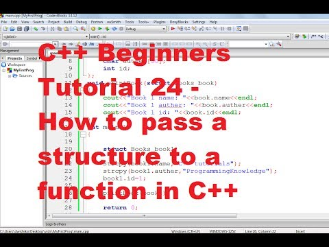 C++ Tutorial for Beginners 24 - How to pass a structure to a function in C++