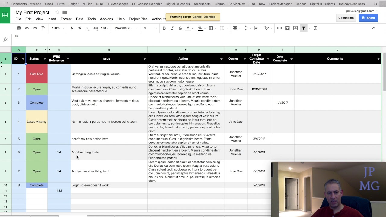 07 Action Items Jpmg Project Plan Template For Google Sheets Youtube