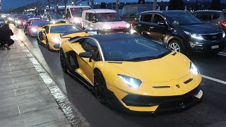 LAMBORGHINI AVENTADOR SVJ SQUAD RUNS THE STREETS OF GENEVA!!!