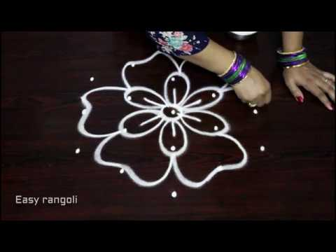 simple and easy rangoli designs with 5x3 dots || kolam designs ...