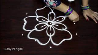 simple and easy rangoli designs with 5x3 dots || kolam designs || muggulu with dots