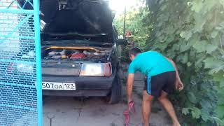 Как завести машину без аккумулятора это легко)))