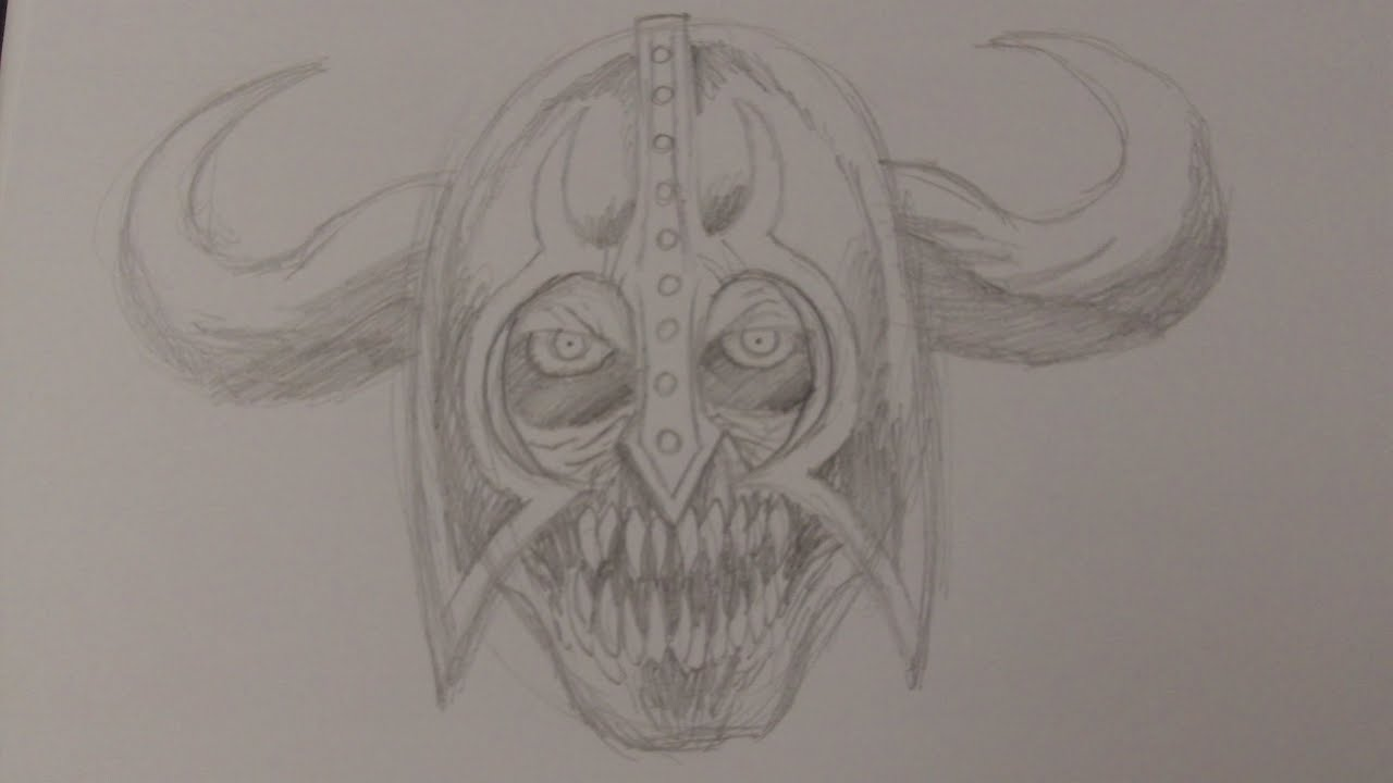 how to draw a skeleton head step by step