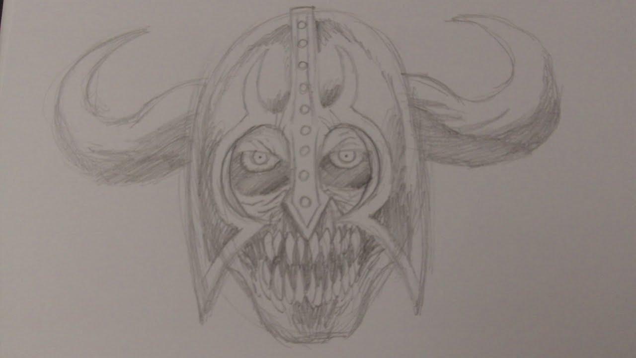 How To Draw A Demon Skeleton Warrior Head Slideshow