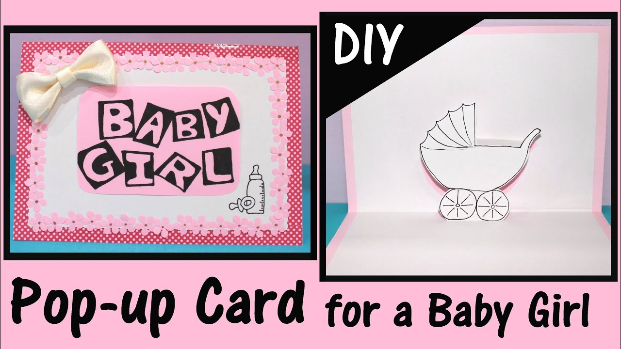 diy pop up card for a baby girl youtube