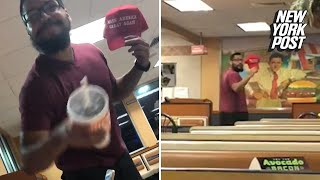 Man steals teen's MAGA hat and throws a drink in his face
