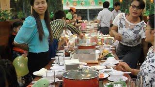Buffet soup at Sou Sou Suki Soup near Olympic Market in Phnom Penh
