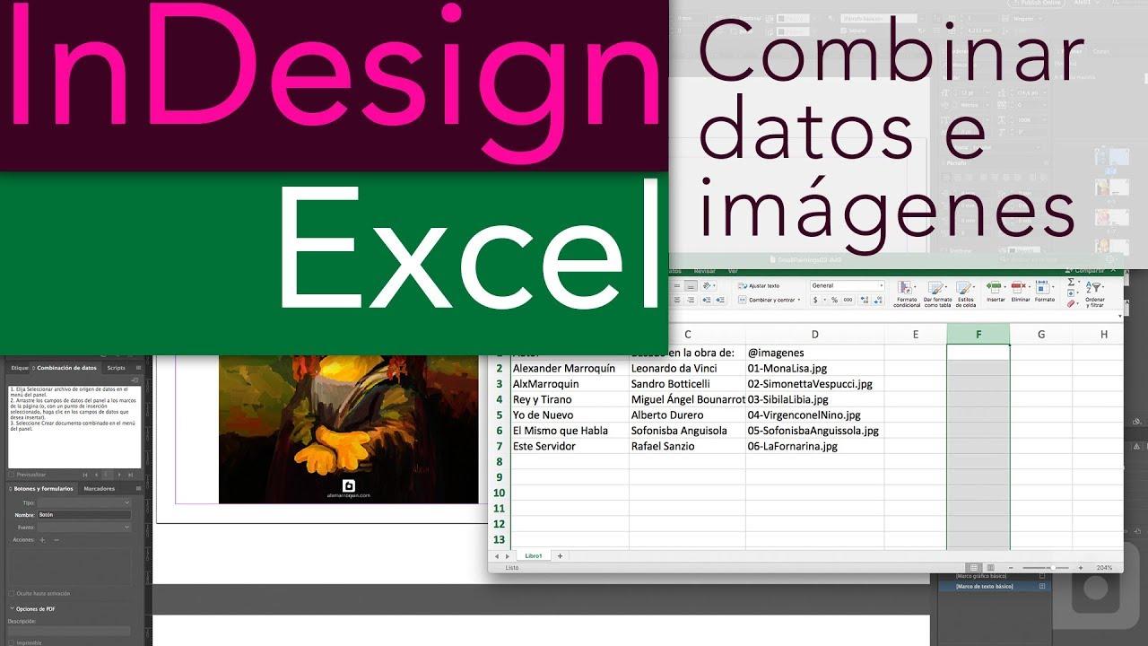 Combinar tabla de datos e imágenes con InDesign y Excel - YouTube