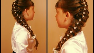 Коса с жемчужными бусинами. Видео-урок.