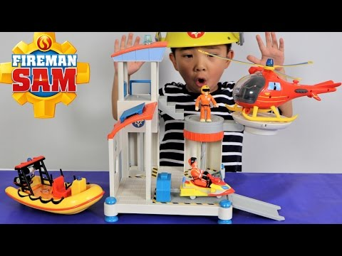 Fireman Sam Ocean Rescue Playset Toys Unboxing Kids Playing  Rescue Helicopter Ckn Toys