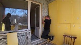 Ремонт балкона. Клею утеплитель на пену.Выравниваю пол.