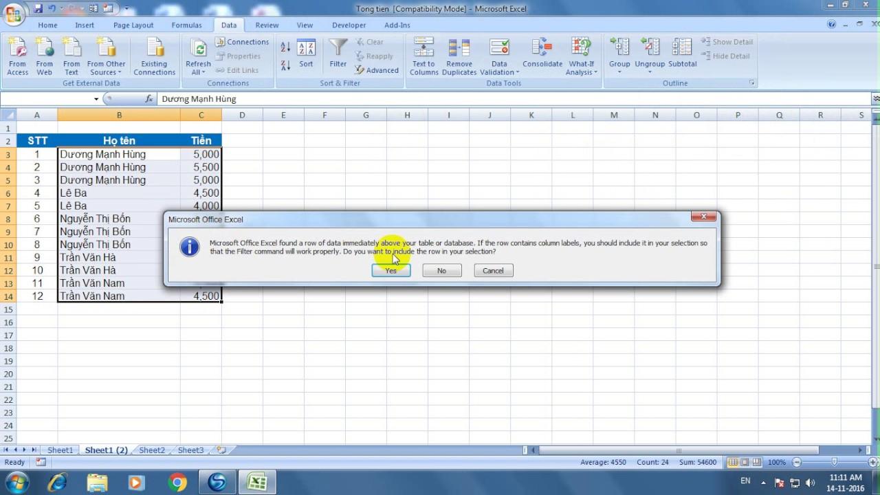 Lệnh tính tổng thu nhập từng người trong Excel 2007