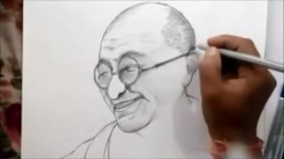 how to draw mahatma gandhi sketch by Pavan (hcl)