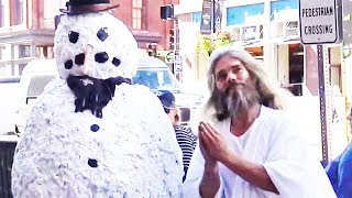 Funny Things Religious People Say When Afraid - Scary Snowman Prank