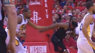 Kevin Durant Shoves James Harden and Gets A Technical Foul - Warriors vs Rockets Game 2