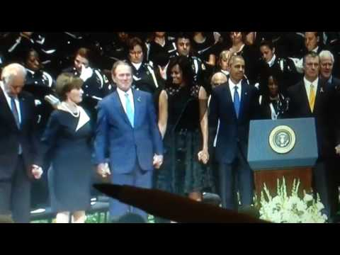 Body Language Obama's, George Bush Laughing & Dancing on the Graves of 5 Fallen Officers