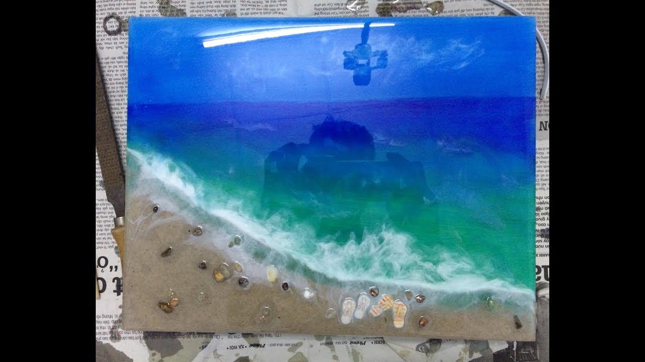 cảnh bãi biển với, resin, cát, acrylic và sỏi