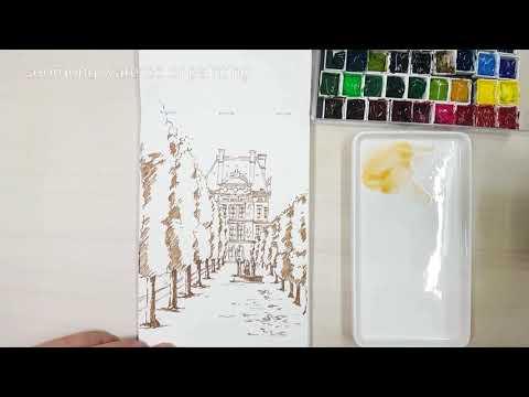 Jardin des Tuileries watercolor painting