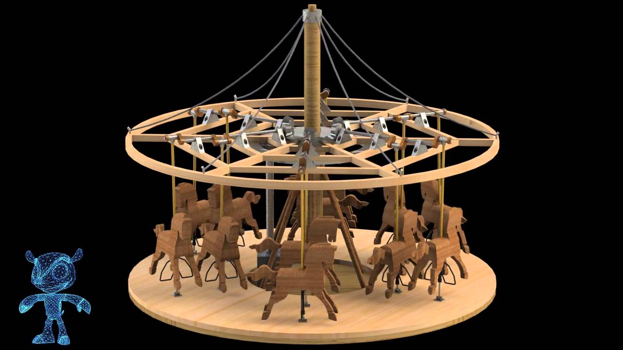 Carousel Wooden Toy 3D Model - YouTube
