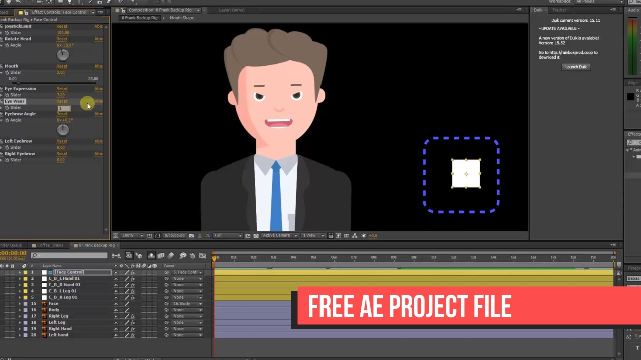 Free After effects Rigged characters | READY TO USE CHARACTER DESIGN |  WiBits