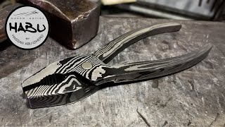 HABU \\ Forging Twisted Damascus Pliers