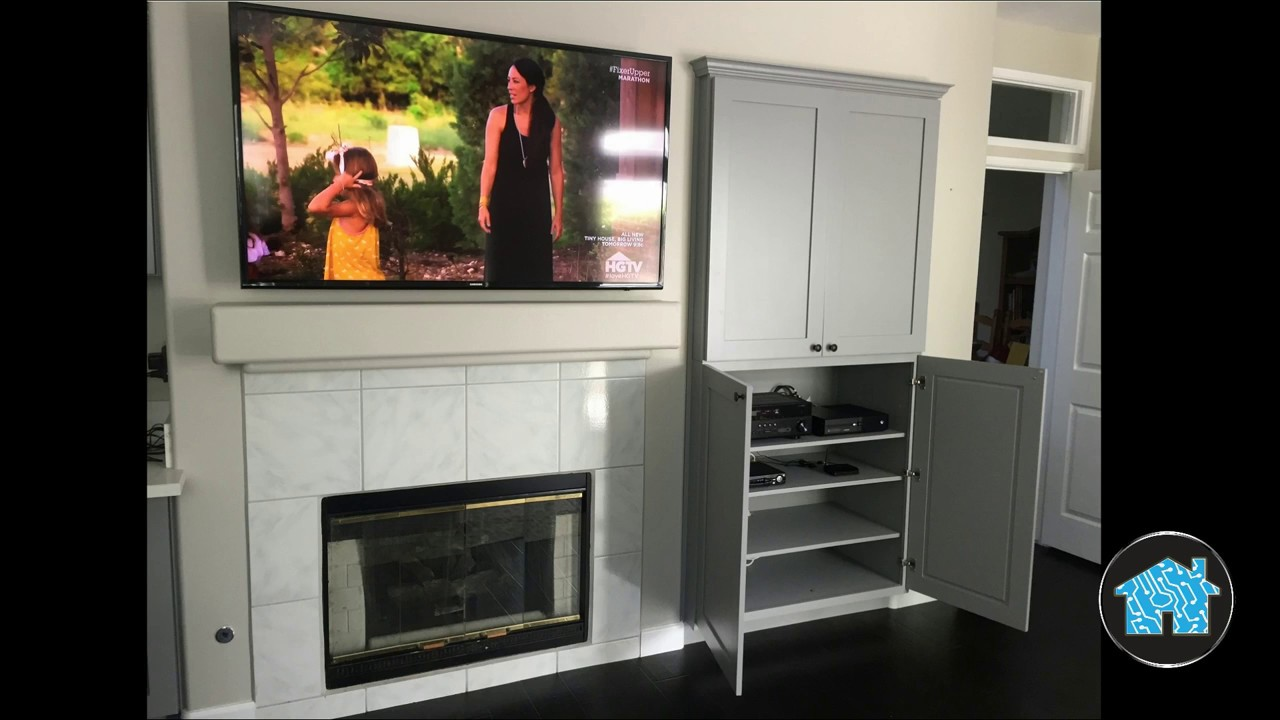 Family Room Surround Sound With Tv Over Fireplace