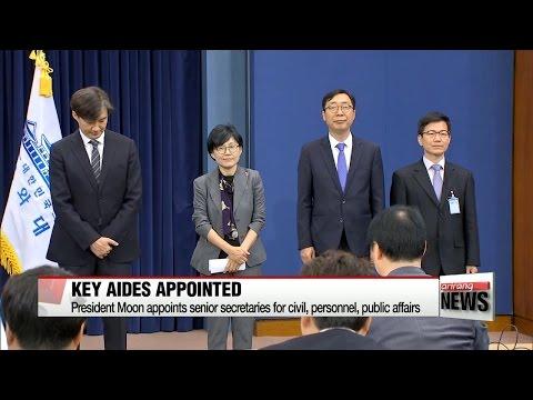 President Moon names chief secretaries at Cheong Wa Dae
