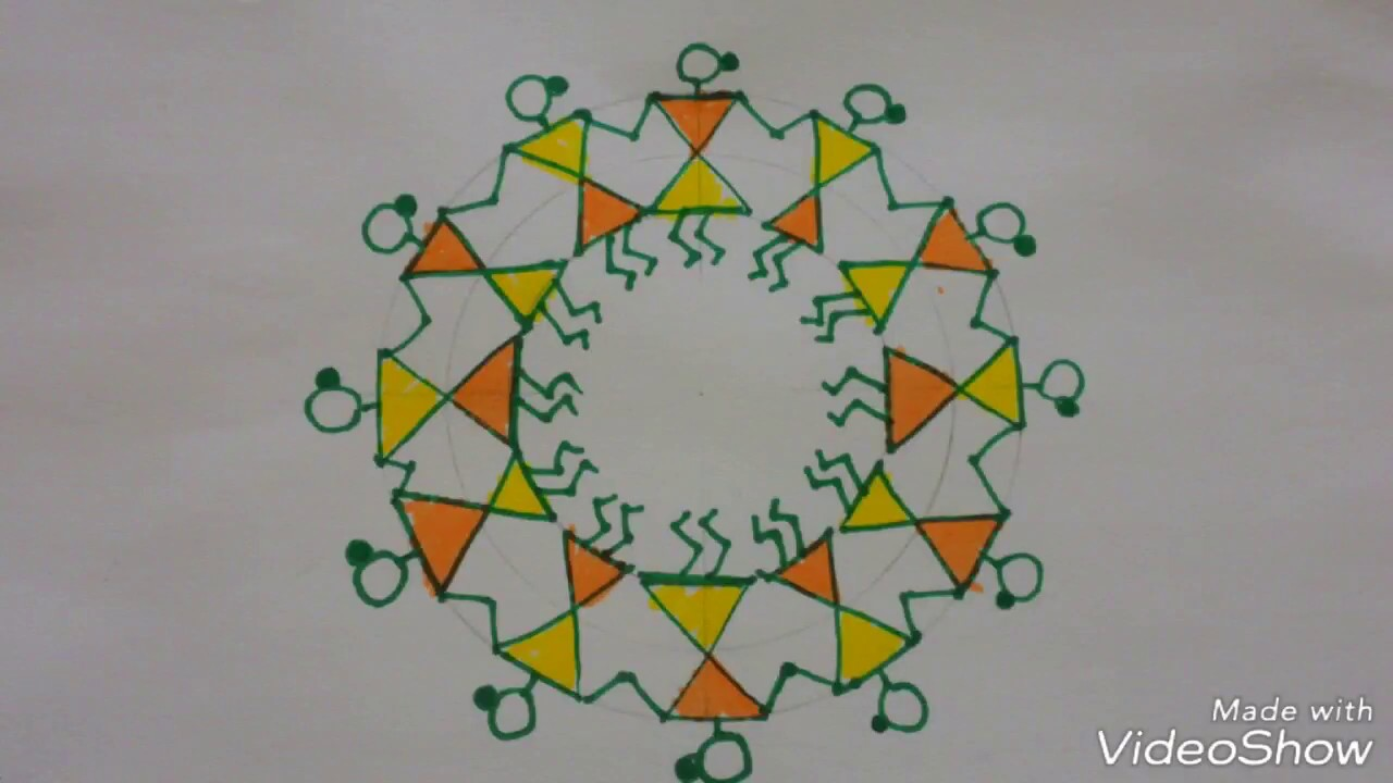 How To Draw Warli Circle Super Easy Simple Warli Art For