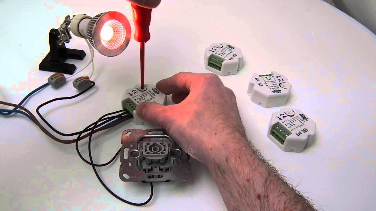 Led pulsdimmer inbouw 230V voor ledspots en ledlampen VK150P2 - YouTube
