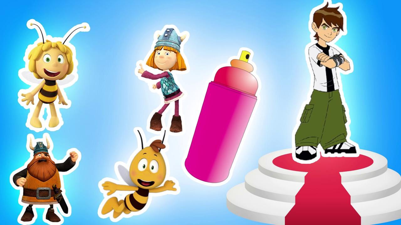 Arı Maya Ben10 Sprey Boyama Oyunu çizgi Film Ile Renkleri