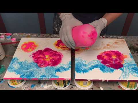 Acrylic Pour Painting: Double Blown Flower Pour With Fun Colored Edges