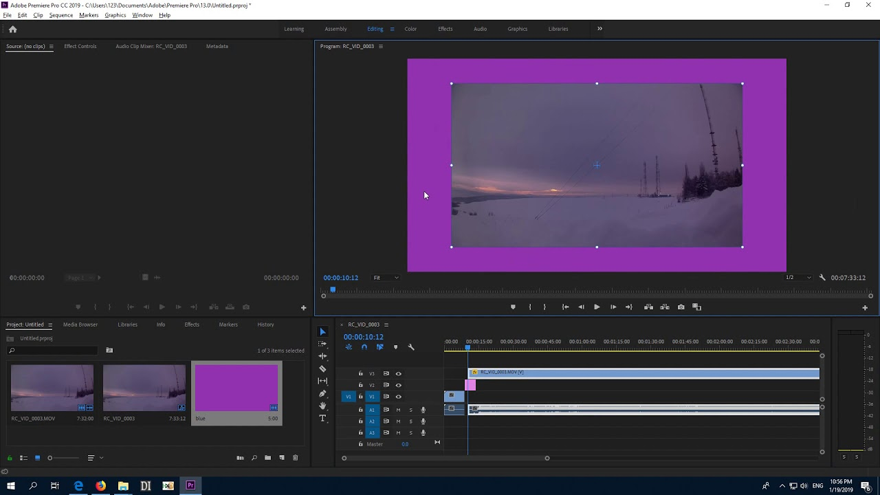 How To Modify Black Background Color In Premiere Pro Color Matte Youtube