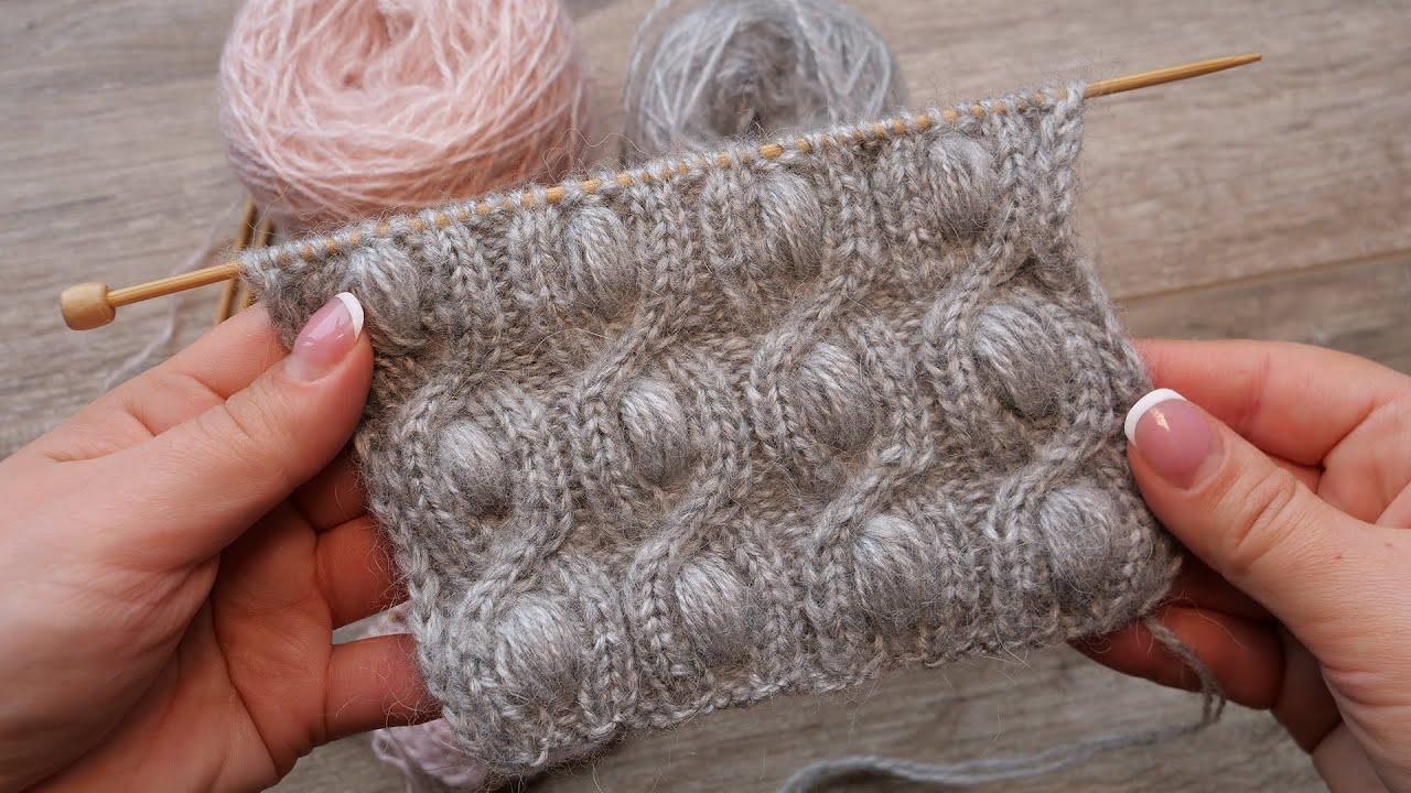 Узор «Bobble & Cable» спицами 🎭 knitting pattern