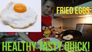 How to make fried eggs HEALTHY TASTY QUICK recipe NO FAT added!