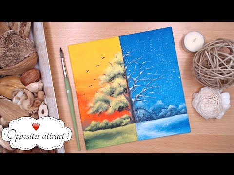 day-48-painting-|-easy-relaxing-activities-for-adults-|-warm-cold-summer-winter-scene
