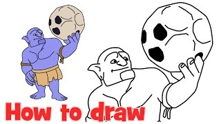 How to draw Bowler from Clash of Clans troops step by step