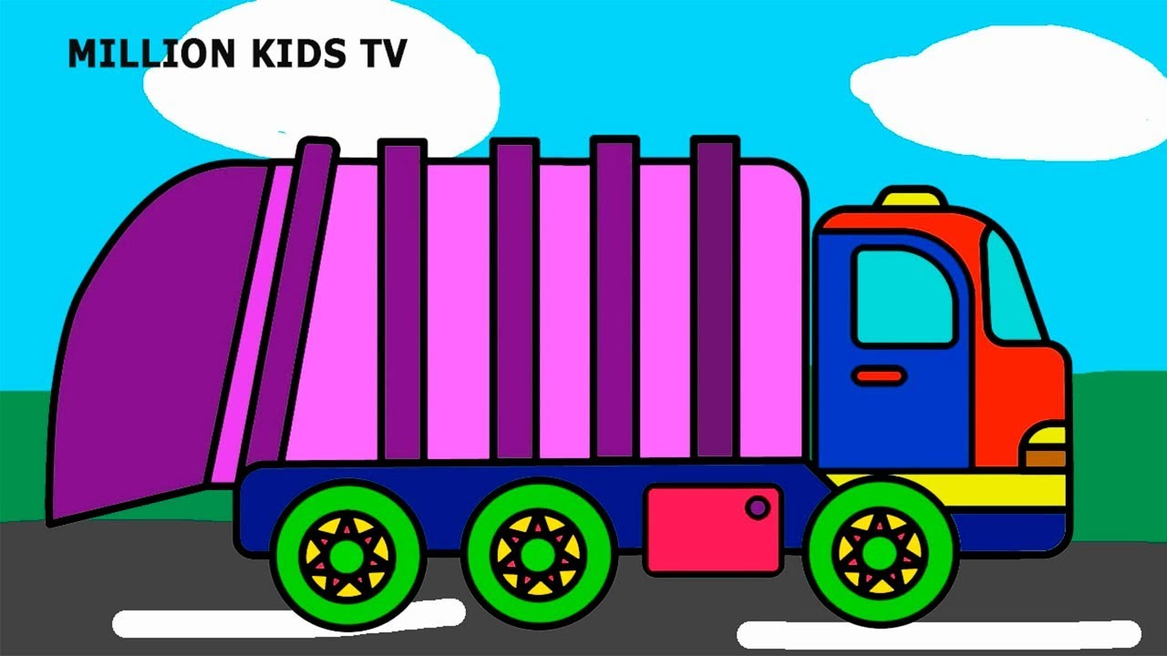 Garbage truck coloring pages, Colors trash truck video for kids ...