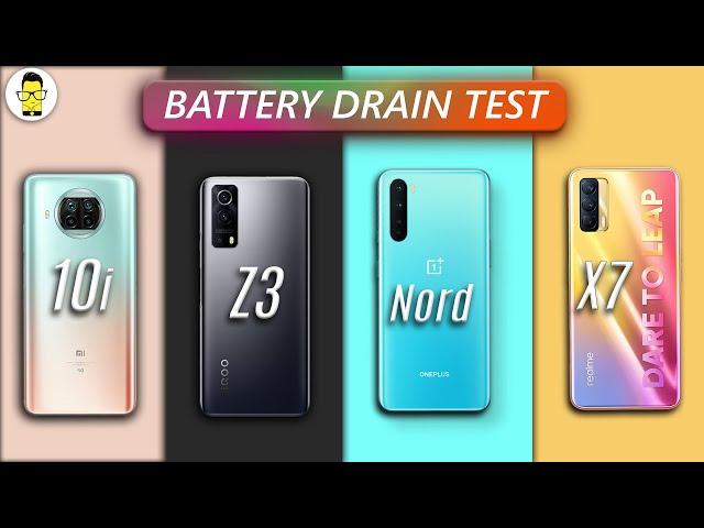 iQOO Z3 vs OnePlus Nord vs Mi 10i vs Realme X7 | Battery Drain Test ⚡️⚡️⚡️