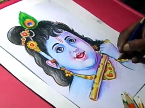 How To Draw Lord Krishna Color Painting Step By Step Youtube