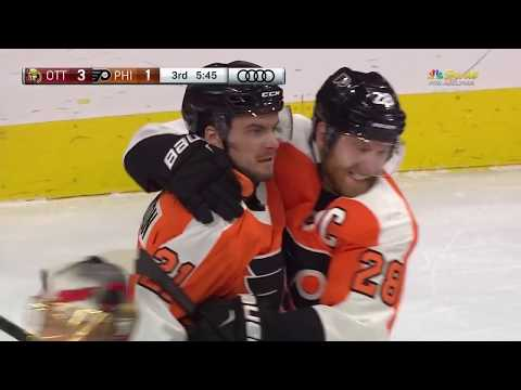 Scott Laughton Deflection Goal - Philadelphia Flyers vs Ottawa Senators 2/3/18