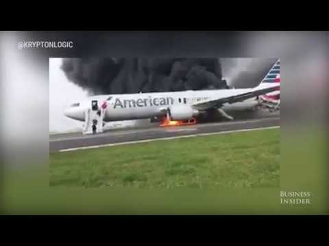 An American Airlines Plane Caught Fire
