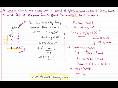 Velocity of Sound when Time taken for  Sound of Splash is Known :Motion in Straight line Problem
