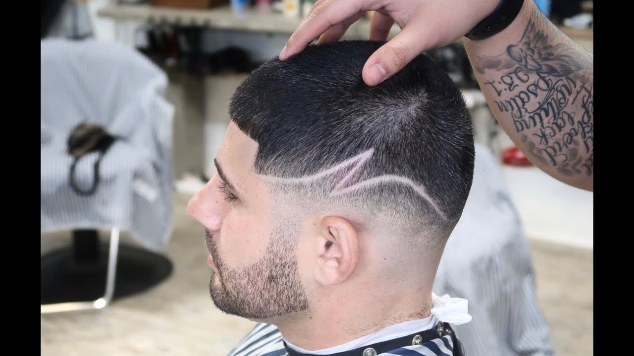 bald fade z part design barber haircut tutorial
