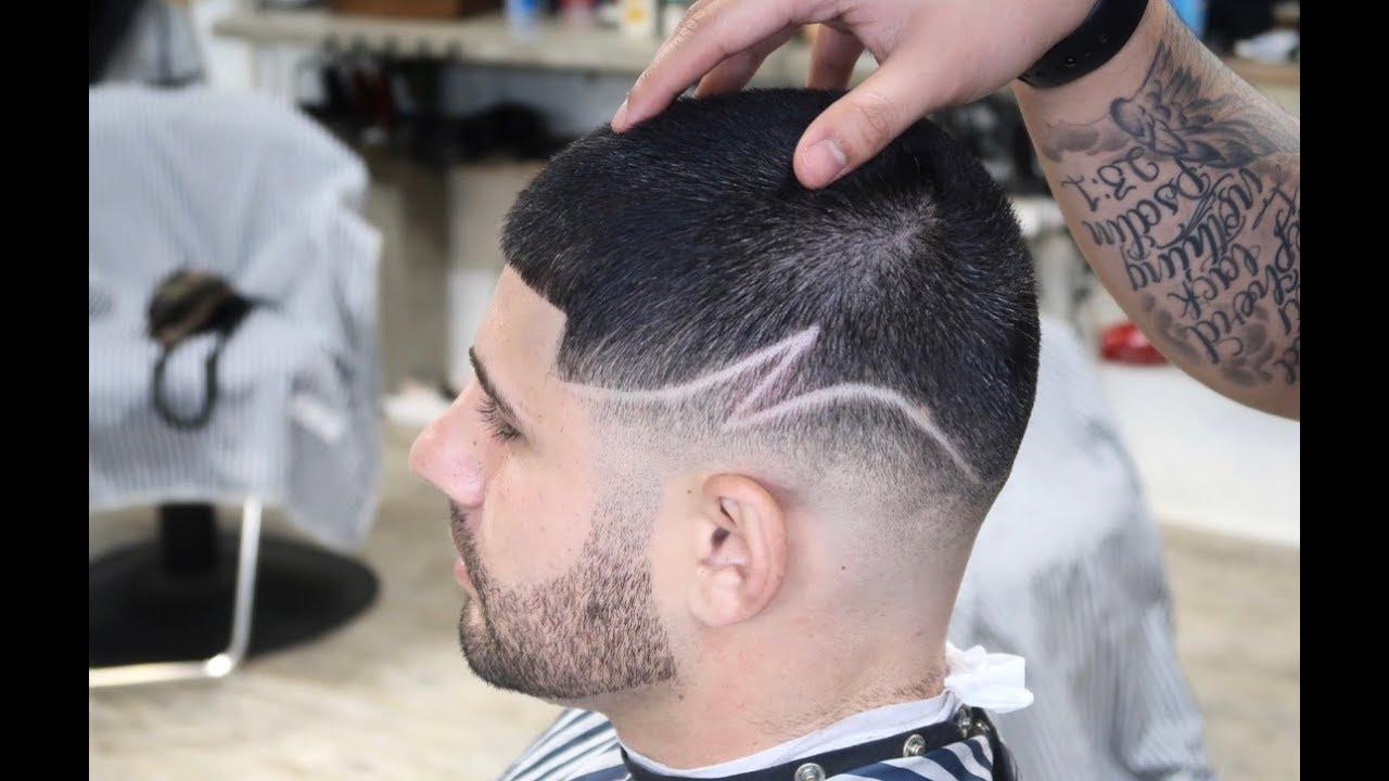 bald fade z part design barber haircut tutorial