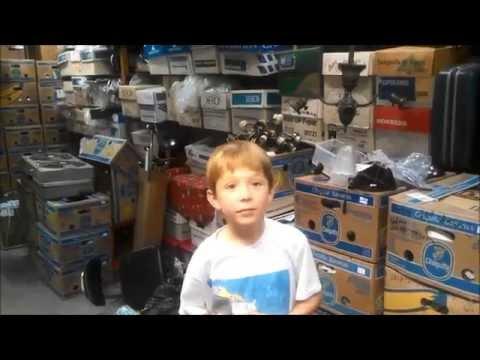 Reece, 9 year old fan collector, visits my fan shop.