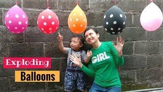 Exploding water filled Balloons with Mom